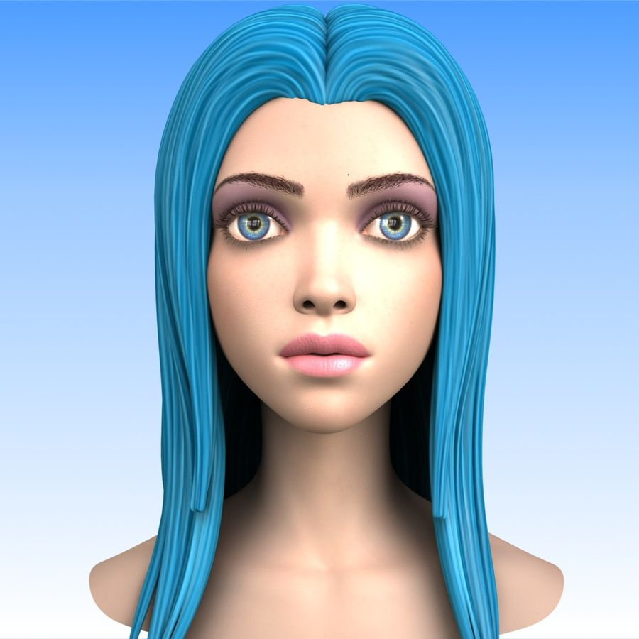 Cartoon Girl Head + Expressions royalty-free 3d model - Preview no. 8
