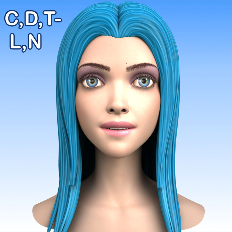 Cartoon Girl Head + Expressions royalty-free 3d model - Preview no. 19
