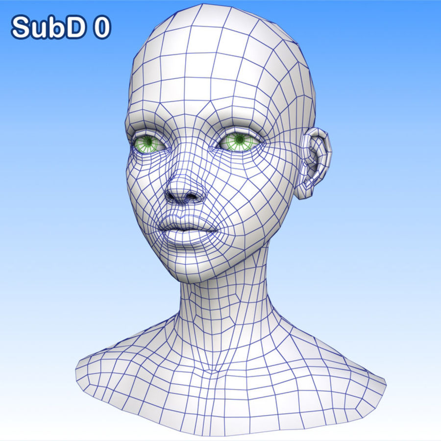 Cartoon Girl Head + Expressions royalty-free 3d model - Preview no. 26