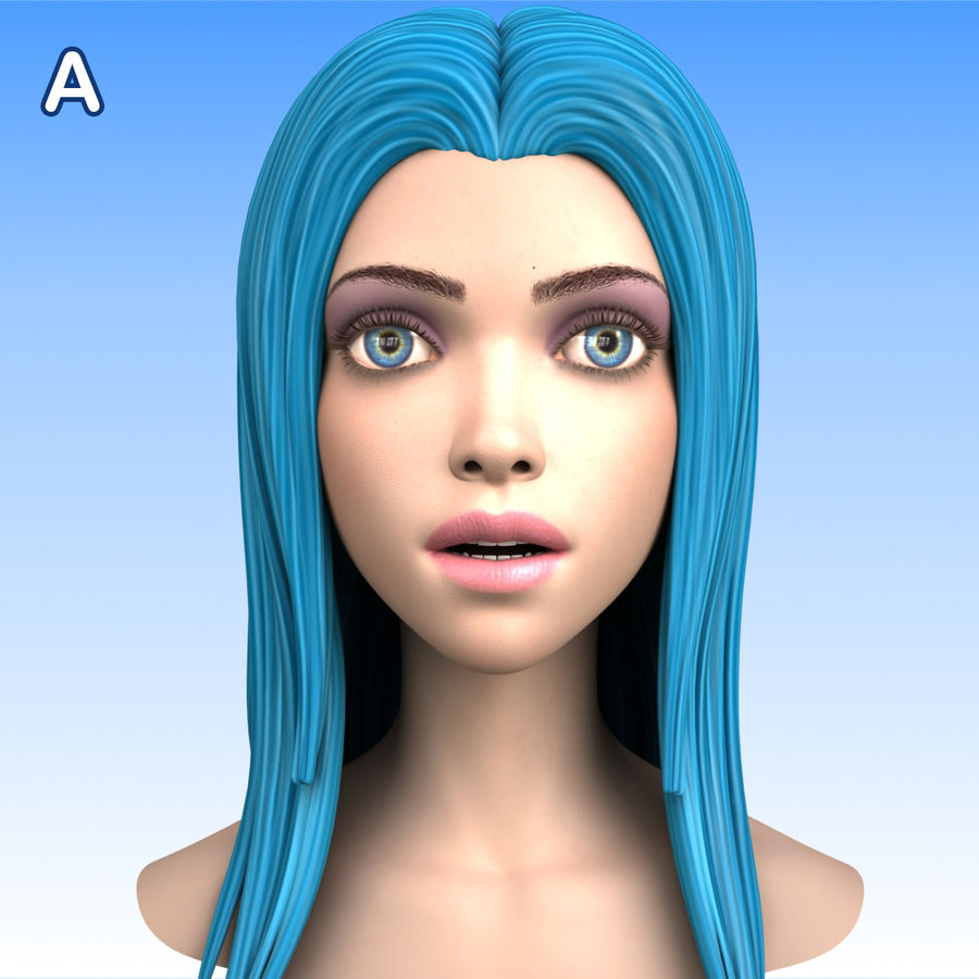 Cartoon Girl Head + Expressions royalty-free 3d model - Preview no. 17