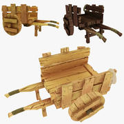 Low Poly Wooden Cart 3d model