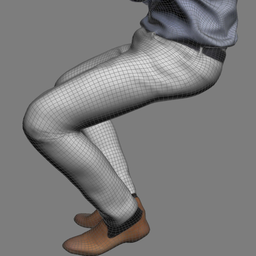 Justin Business Sitting 2 - 3D Human Model royalty-free 3d model - Preview no. 8