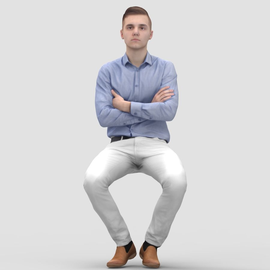 Justin Business Sitting 2 - 3D Human Model royalty-free 3d model - Preview no. 1