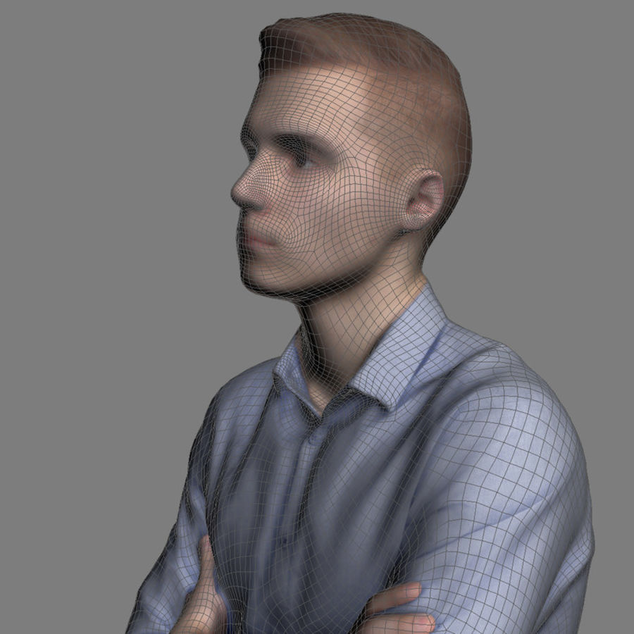 Justin Business Sitting 2 - 3D Human Model royalty-free 3d model - Preview no. 6