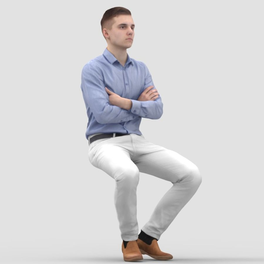 Justin Business Sitting 2 - 3D Human Model royalty-free 3d model - Preview no. 2