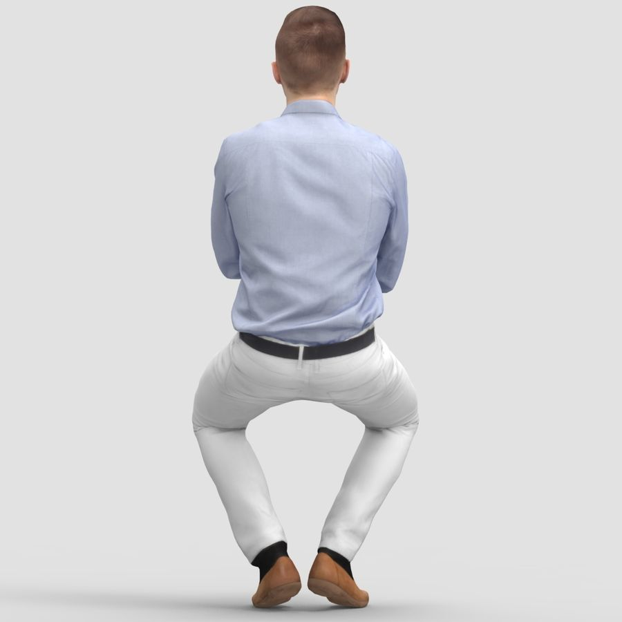 Justin Business Sitting 2 - 3D Human Model royalty-free 3d model - Preview no. 3