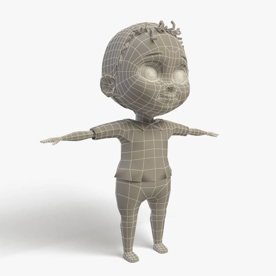 Bébé de bande dessinée royalty-free 3d model - Preview no. 9