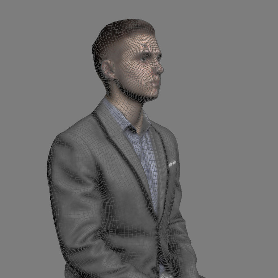 Justin Business Sitting 1 - 3D Human Model royalty-free 3d model - Preview no. 5