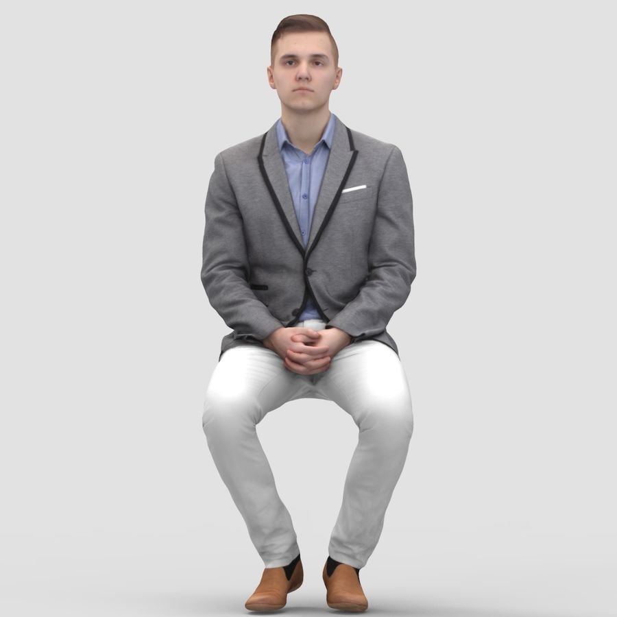 Justin Business Sitting 1 - 3D Human Model royalty-free 3d model - Preview no. 1