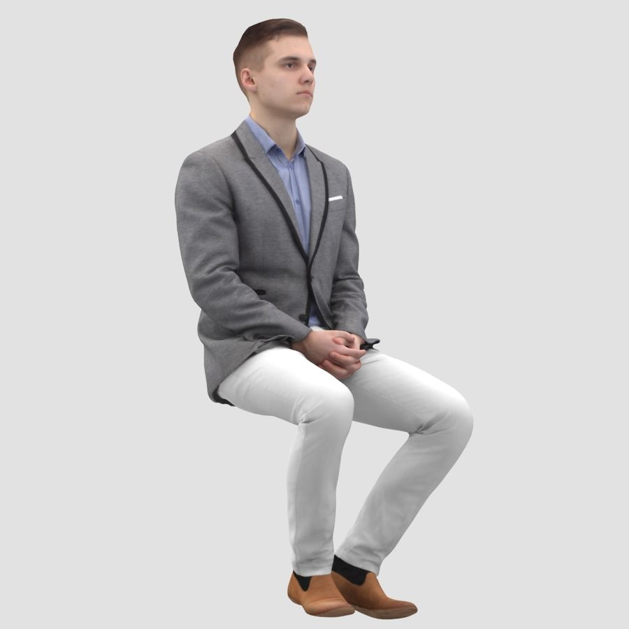 Justin Business Sitting 1 - 3D Human Model royalty-free 3d model - Preview no. 2