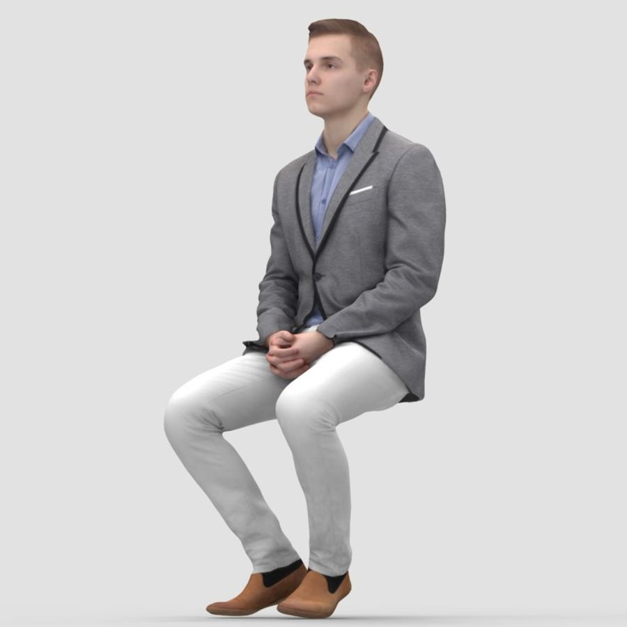 Justin Business Sitting 1 - 3D Human Model royalty-free 3d model - Preview no. 4