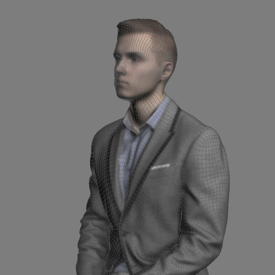 Justin Business Sitting 1 - 3D Human Model royalty-free 3d model - Preview no. 6
