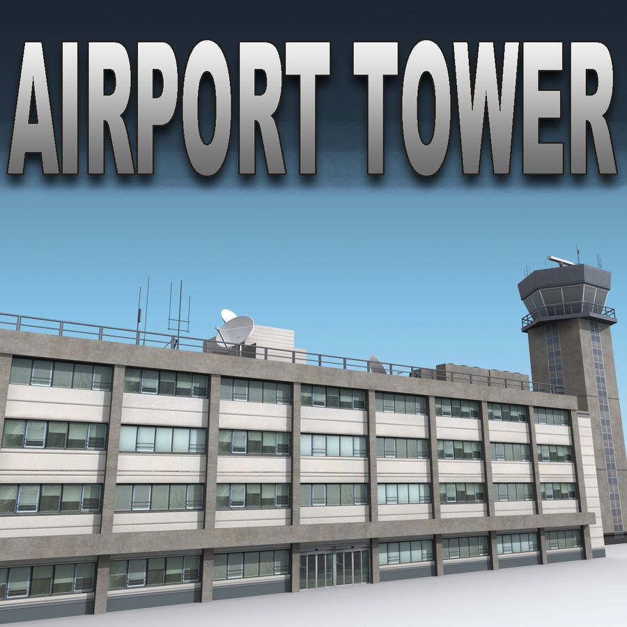 Airport Tower royalty-free 3d model - Preview no. 1