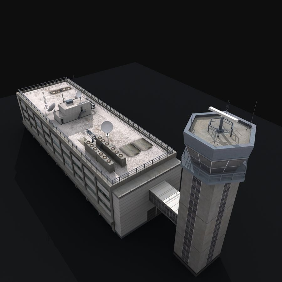 Airport Tower royalty-free 3d model - Preview no. 11