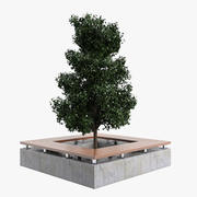Square Tree Bench A 3d model