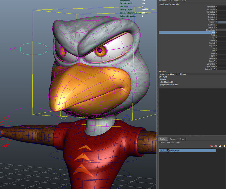 Maya Eagle Cartoon Character 3D Model $49 -  unknown  ma