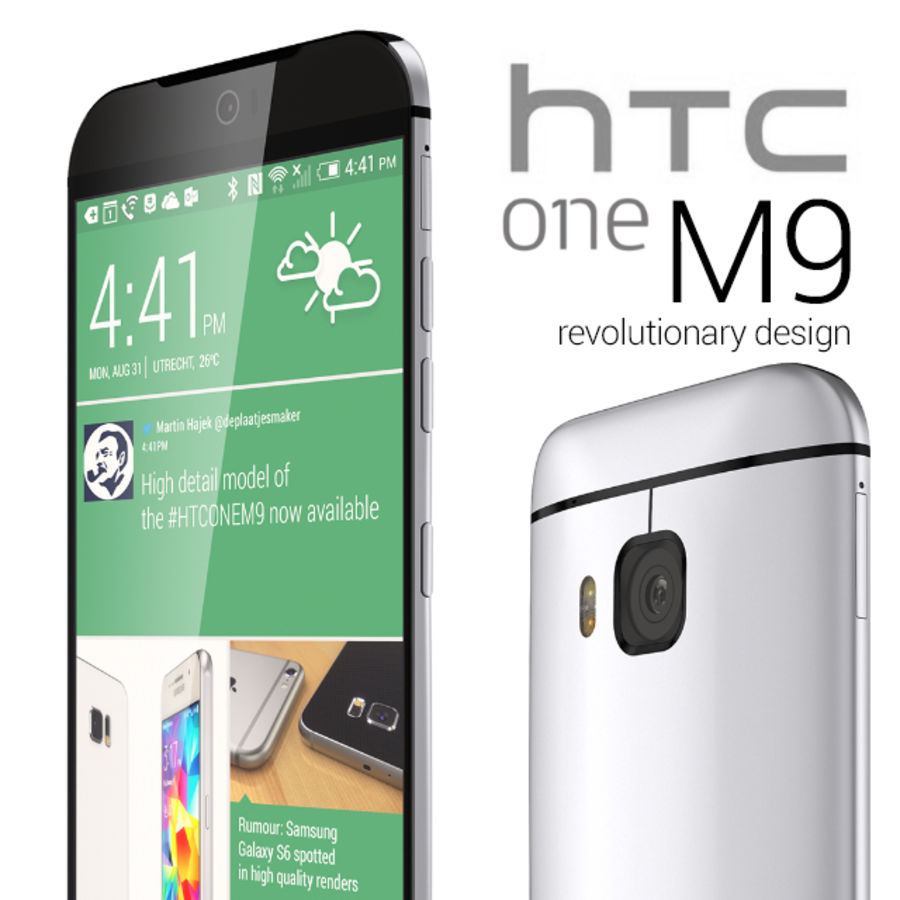 HTC One M9 royalty-free 3d model - Preview no. 1