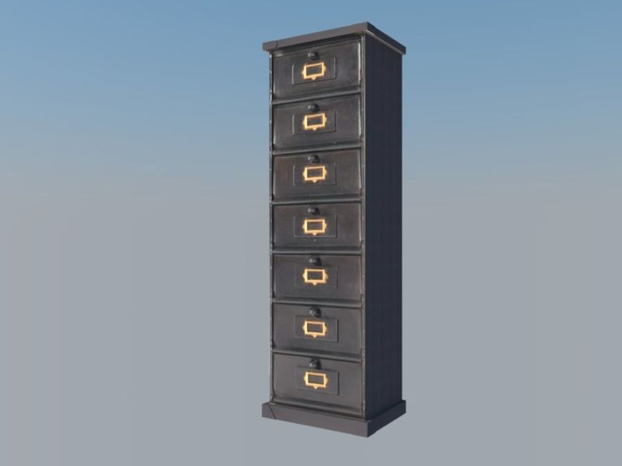 Filing Cabinet royalty-free 3d model - Preview no. 1