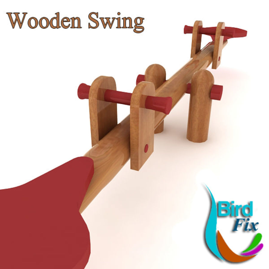 Wooden Swing royalty-free 3d model - Preview no. 2