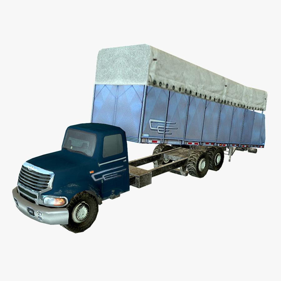 Ciężarówka z modułem Low Poly royalty-free 3d model - Preview no. 1
