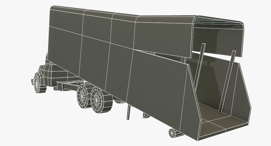 Ciężarówka z modułem Low Poly royalty-free 3d model - Preview no. 9