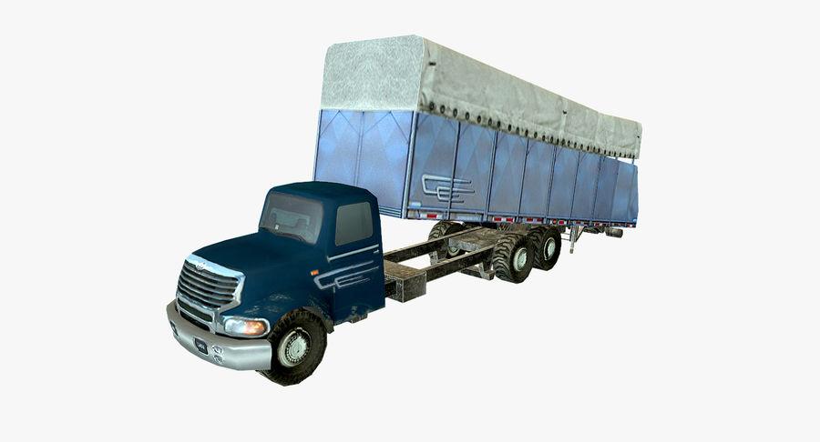 Ciężarówka z modułem Low Poly royalty-free 3d model - Preview no. 2