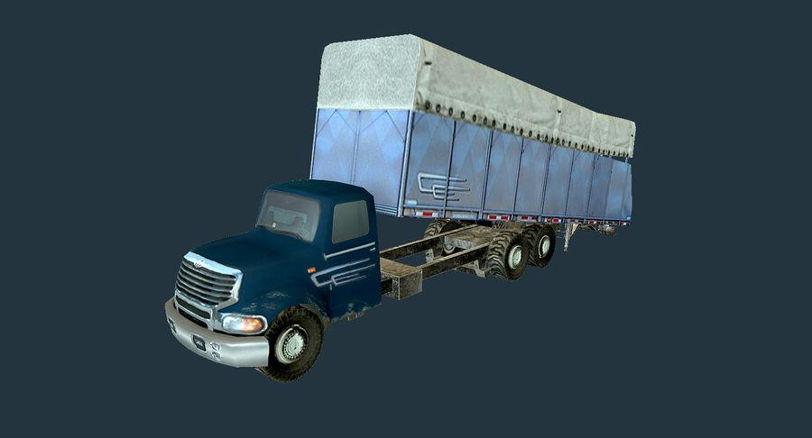 Ciężarówka z modułem Low Poly royalty-free 3d model - Preview no. 3