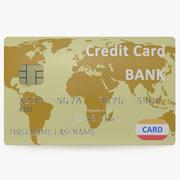 Gold Credit Card 3D Model 3d model