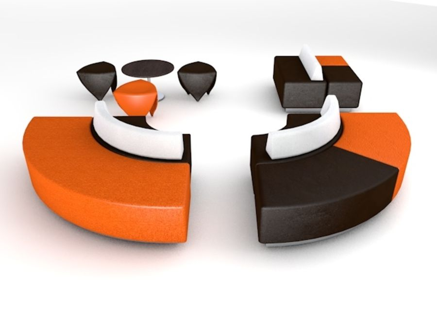 Modern Mall Sofas & Chair royalty-free 3d model - Preview no. 5