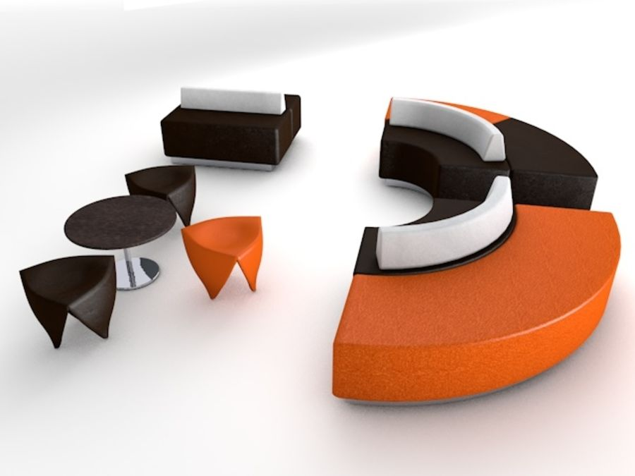 Modern Mall Sofas & Chair royalty-free 3d model - Preview no. 6