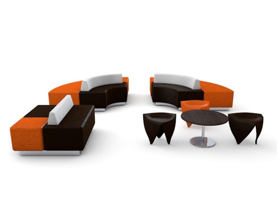 Modern Mall Sofas & Chair royalty-free 3d model - Preview no. 3