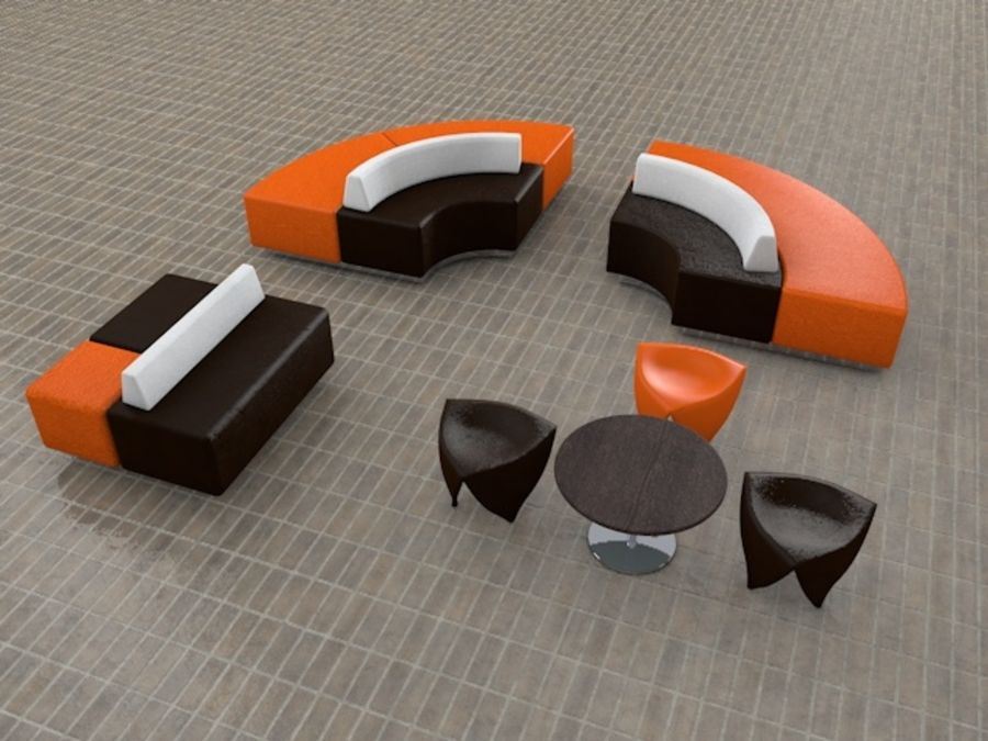 Modern Mall Sofas & Chair royalty-free 3d model - Preview no. 1