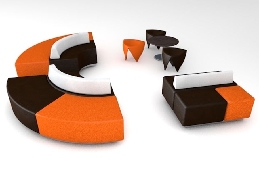 Modern Mall Sofas & Chair royalty-free 3d model - Preview no. 4