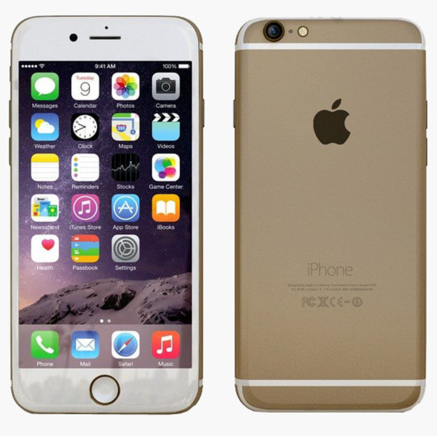 Apple iPhone 6 Gold royalty-free 3d model - Preview no. 1