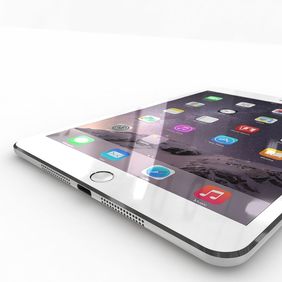 Apple iPad Mini 3 Silver royalty-free 3d model - Preview no. 21