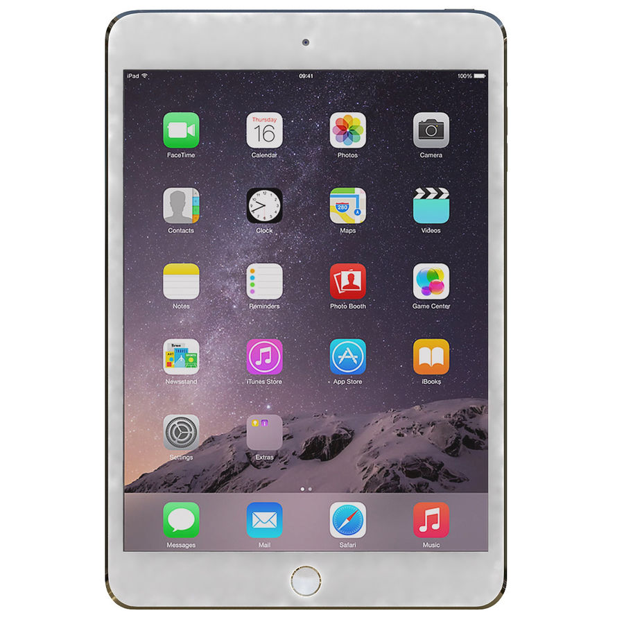 Apple iPad Mini 3 Silver royalty-free 3d model - Preview no. 3
