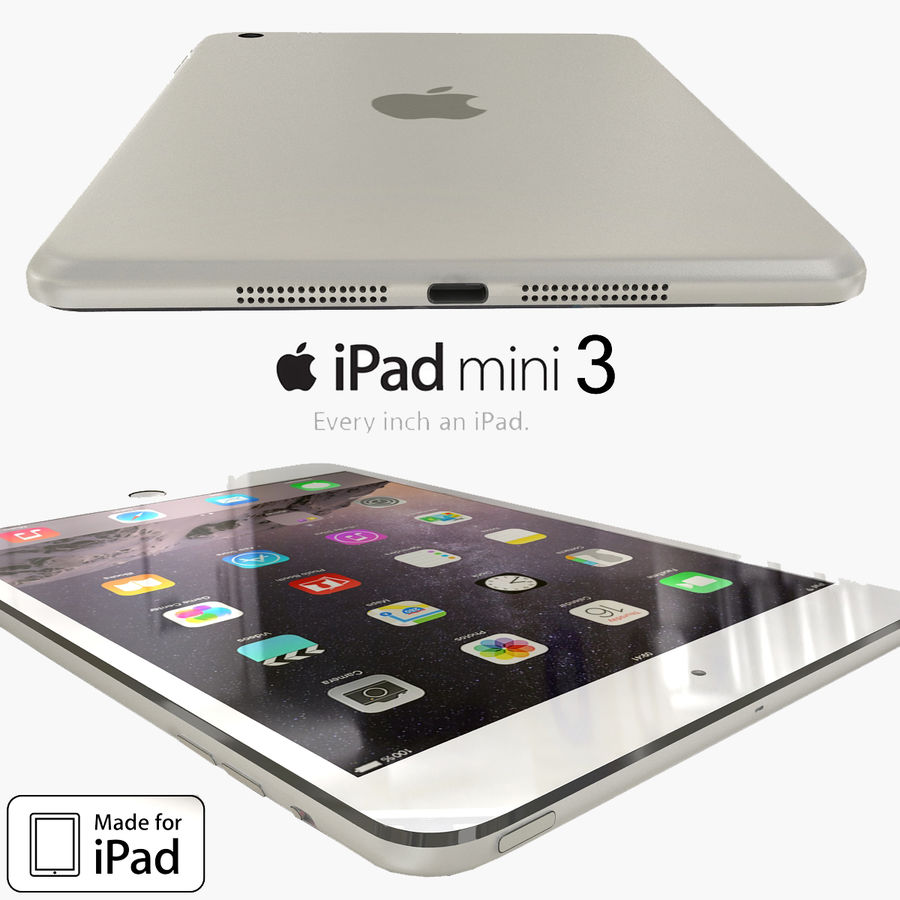 Apple iPad Mini 3 Silver royalty-free 3d model - Preview no. 1