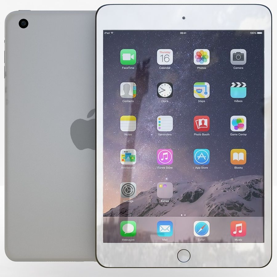 Apple iPad Mini 3 Silver royalty-free 3d model - Preview no. 2