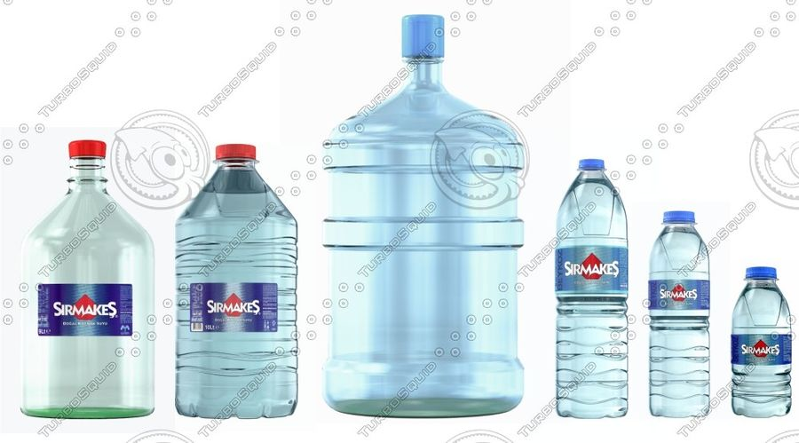Water Bottles royalty-free 3d model - Preview no. 1
