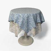 Round Side Table  + Fabric  & Lace - 001 3d model