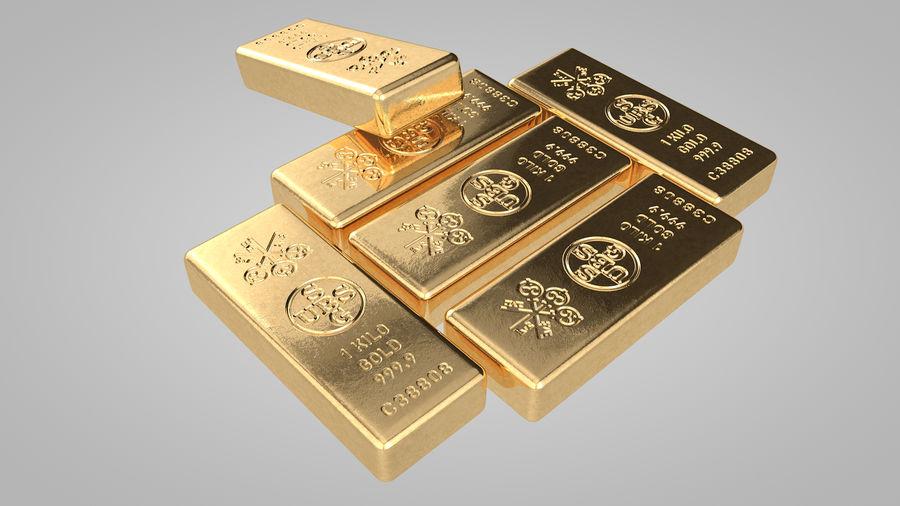 Sztabki złota royalty-free 3d model - Preview no. 3