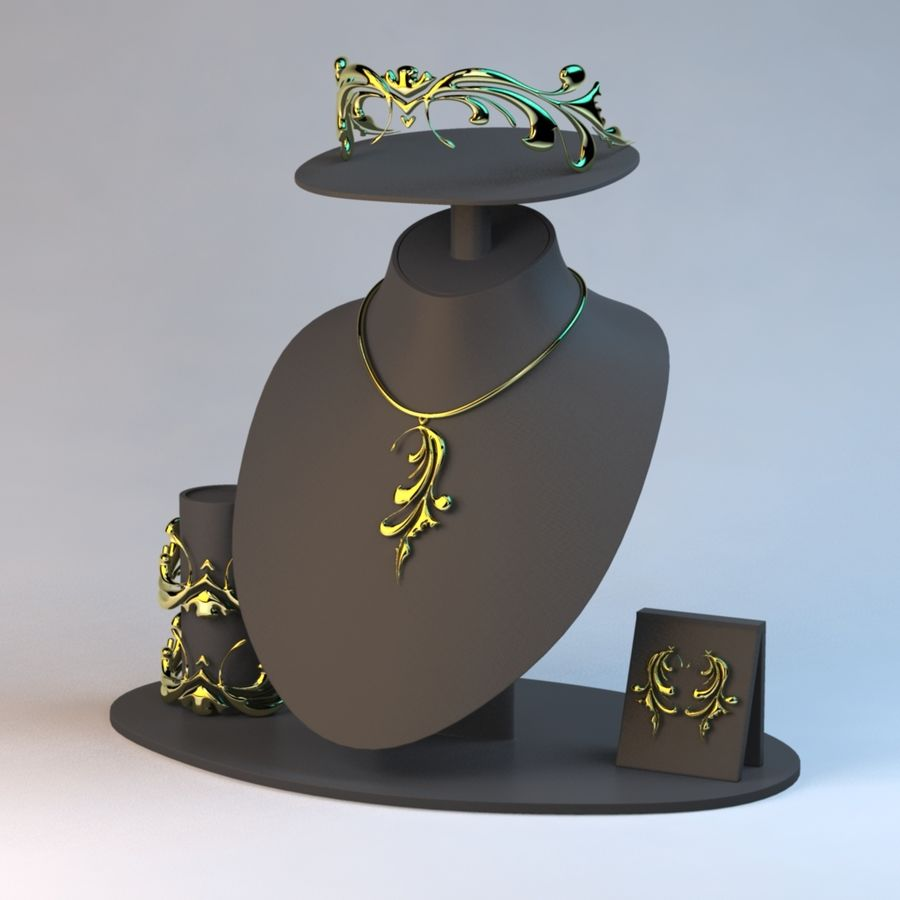 Necklace Set in Gold royalty-free 3d model - Preview no. 3