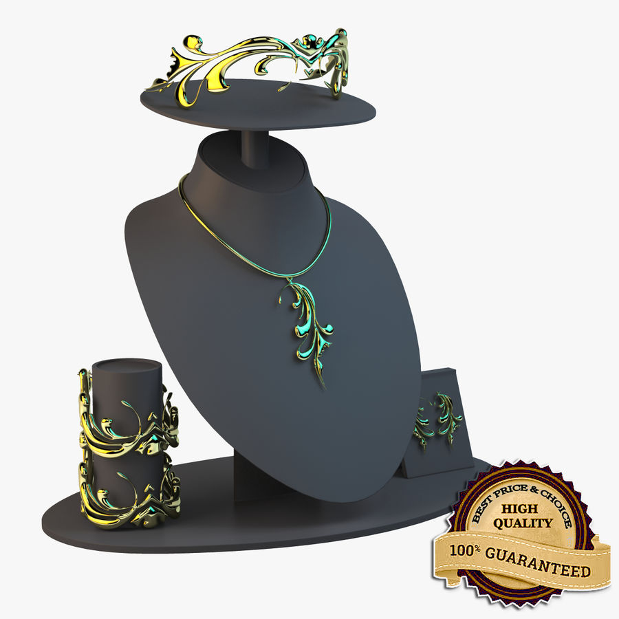 Necklace Set in Gold royalty-free 3d model - Preview no. 1