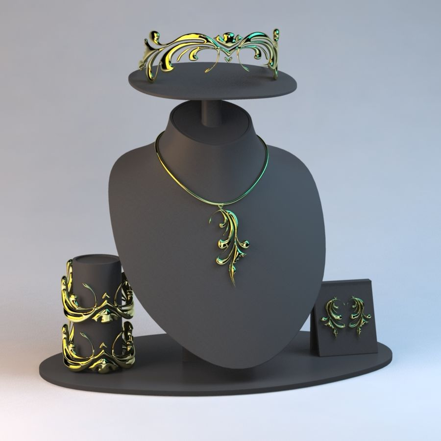 Necklace Set in Gold royalty-free 3d model - Preview no. 5