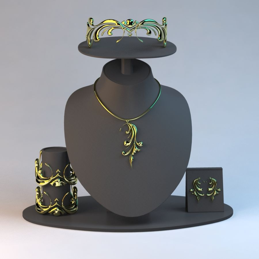 Necklace Set in Gold royalty-free 3d model - Preview no. 2