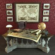 Bureau Antique pour bibliothèque 3d model