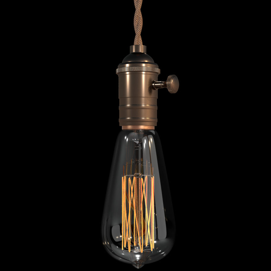 Bombilla Edison royalty-free modelo 3d - Preview no. 5
