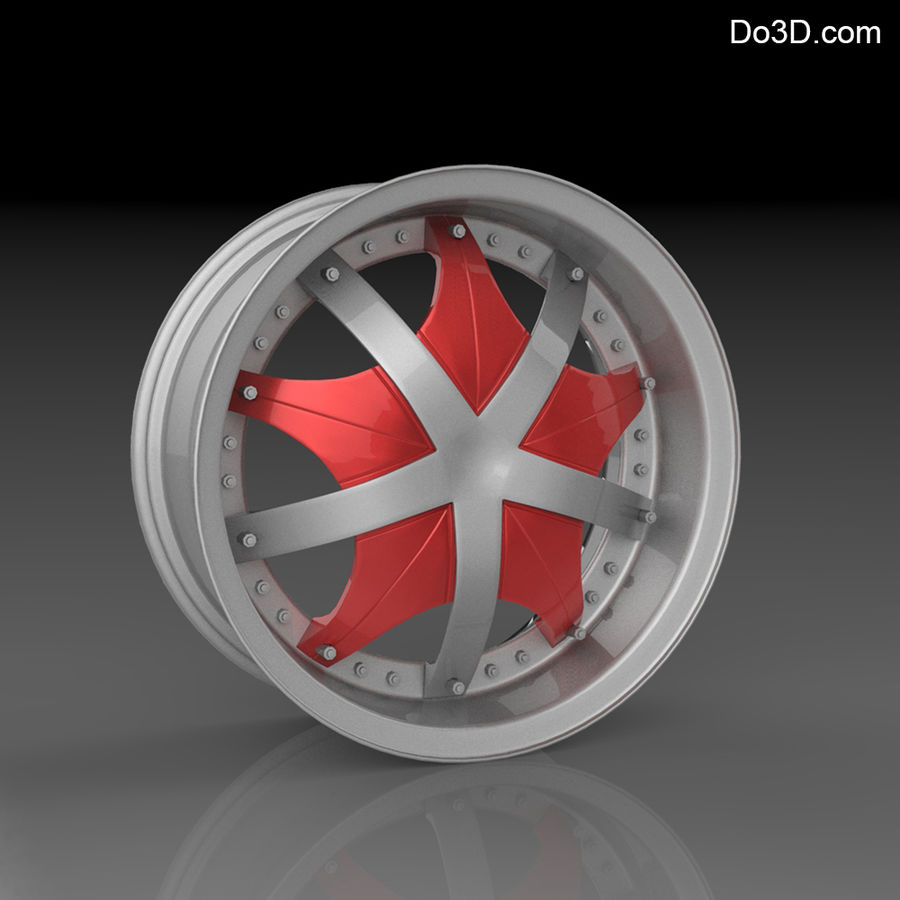 Custom car wheel/ Vehicle rim & parts 12 royalty-free 3d model - Preview no. 1