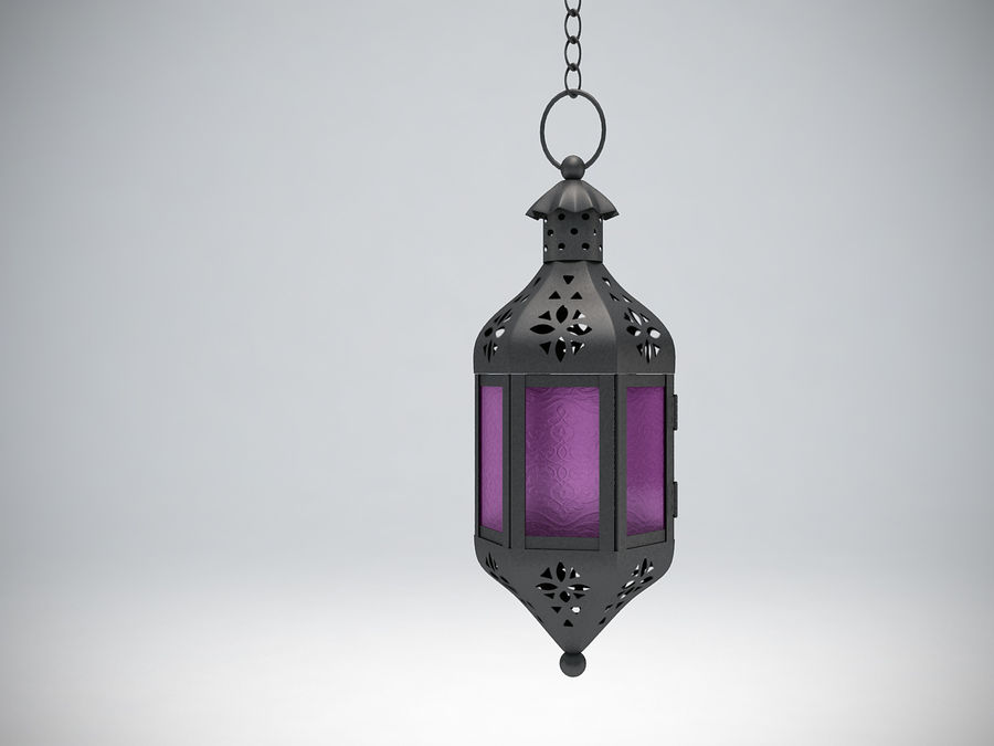 Purple Moroccan Candle Lantern royalty-free 3d model - Preview no. 4