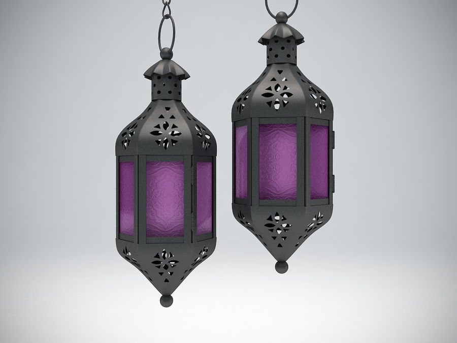 Purple Moroccan Candle Lantern royalty-free 3d model - Preview no. 2